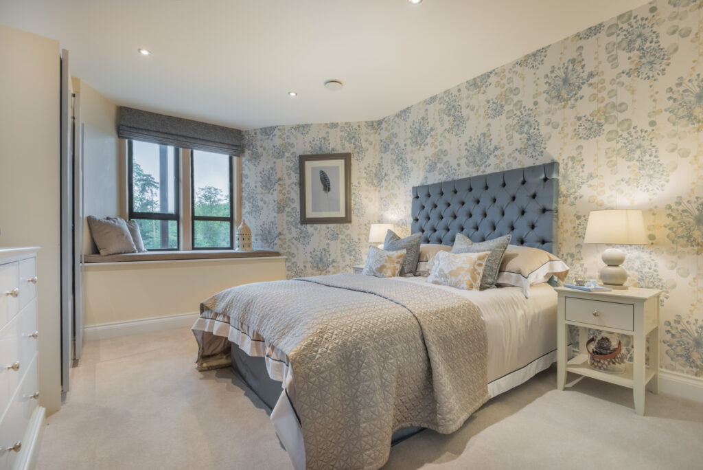 Beautiful, styled, blue and cream bedroom